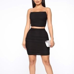 Black two piece mesh skirt set